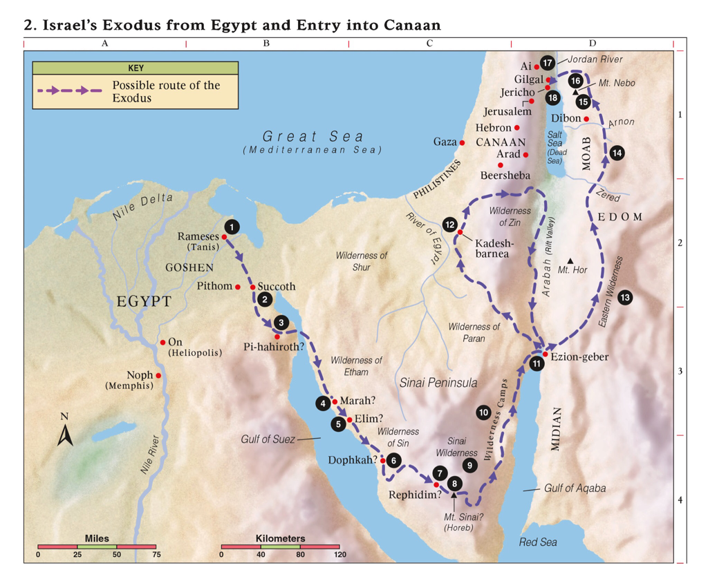 Israel Exodus from Egypt and entry into Canaan.
